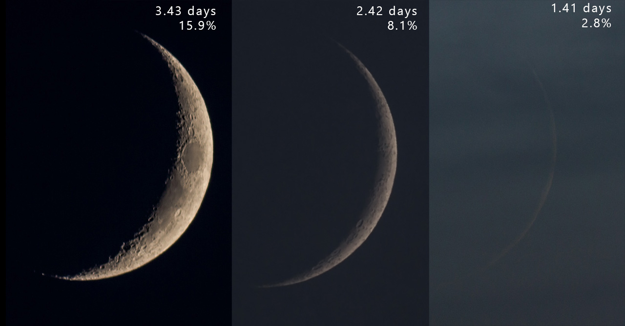 3 sequential crescent Moons