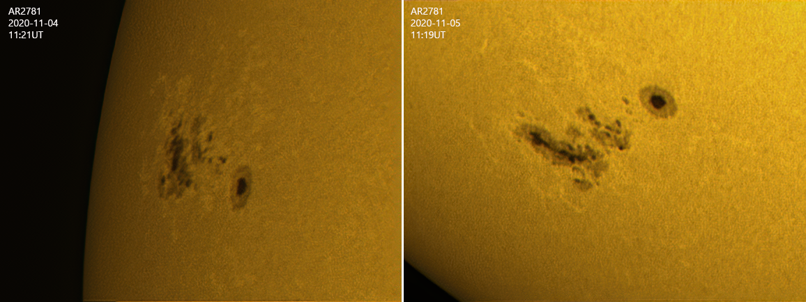 Sunspot group AR2781 Nov 2020