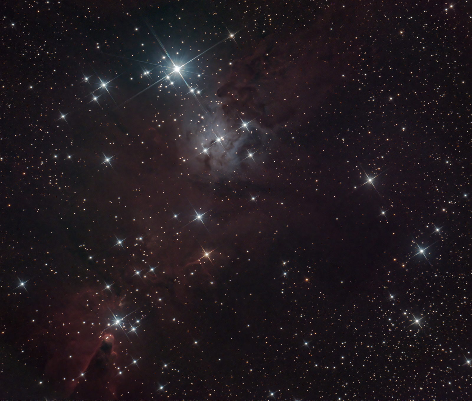 Cone Nebula and Christmas Tree cluster